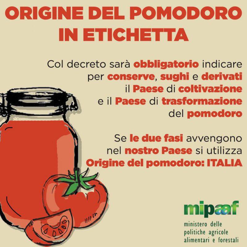 decreto obbligo indicazioni etichetta pomodoro