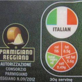 parmigiano etichetta a semaforo